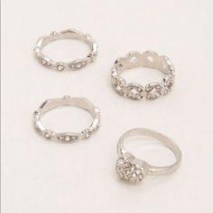 Nwt silvertone plus size ring set of four